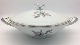 Vintage Noritake Margot Covered Vegetable Bowl 5605 Pink Roses Platinum ... - $56.95