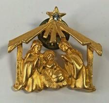 Vintage Christmas Manger Jesus Mary Joseph Rhinestone Star Brooch 1x1-40 - $17.82