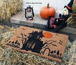 CRATE & BARREL HAUNTED HOUSE DOORMAT -NWT- STEP RIGHT UP & RAISE YOUR SP... - $49.95