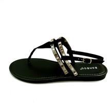 Bamboo Womans Elektra 10S T Strap Ankle Strap Thong Sandal Black Sz 8 M NEW - $17.80
