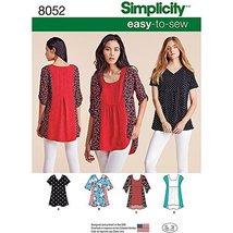 Simplicity Patterns Misses' Easy-To-Sew Tops Size: A (XXS-XS-S-M-L-XL-XXL), 8052 - $13.48