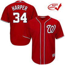 34 Bryce Harper - 2017 Men's Washington Nationals Jersey # Red - $40.00