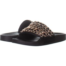 Steve Madden Chains Chain Link Slide Sandals 078, Black, 8 US - $22.74