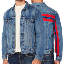 Levi's Men's Unibasic Icon Trucker Denim Red Stripe Jean Jacket image 1