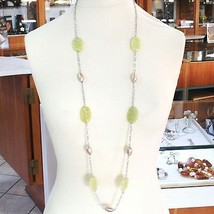 Necklace Silver 925, Ovals Pink, Jasper Green Wavy, Length 105 CM image 2