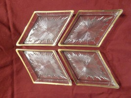 Vintage Set Of Four Gold Trimmed Cut Glass Cond... - $19.95