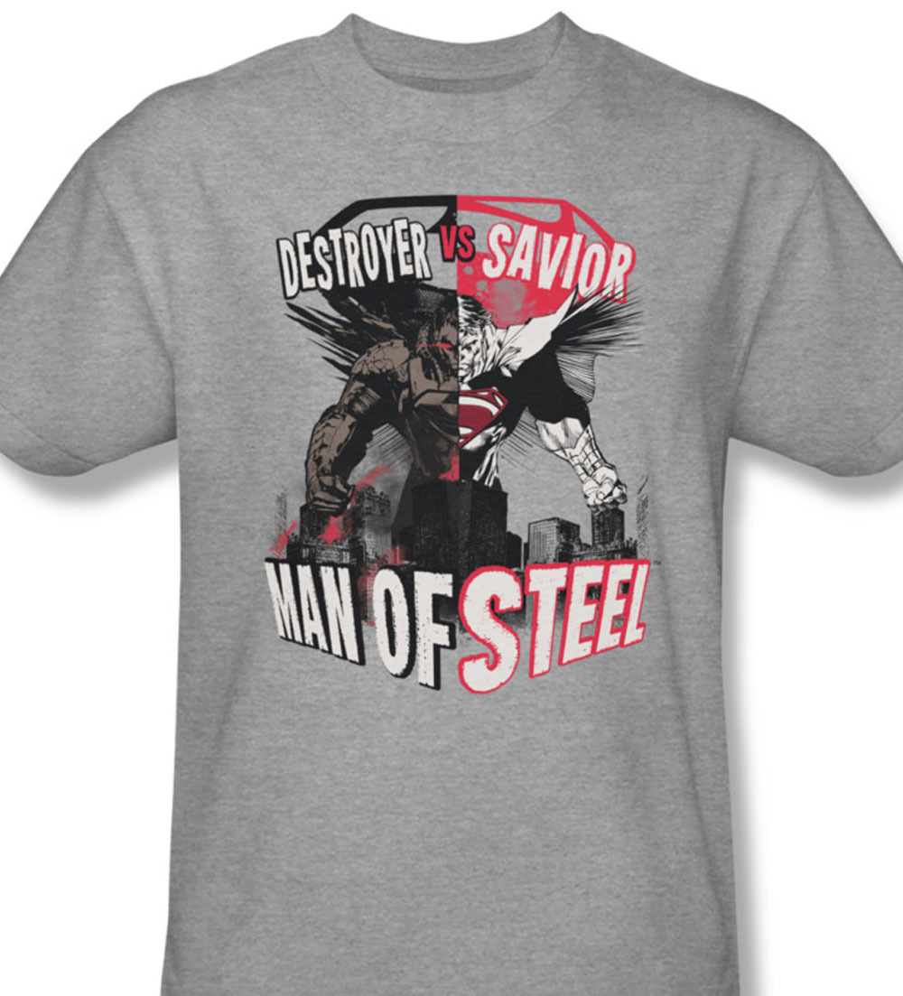 Erman dc comics destroyer vs savior tee man of steel for sale online heather gray graphic tshirt