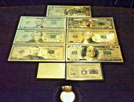 FULL GOLD Banknote Set Condition $1,$,5,10,20,50,$100 W/ CERTIFICATE+MORE!q - $27.77