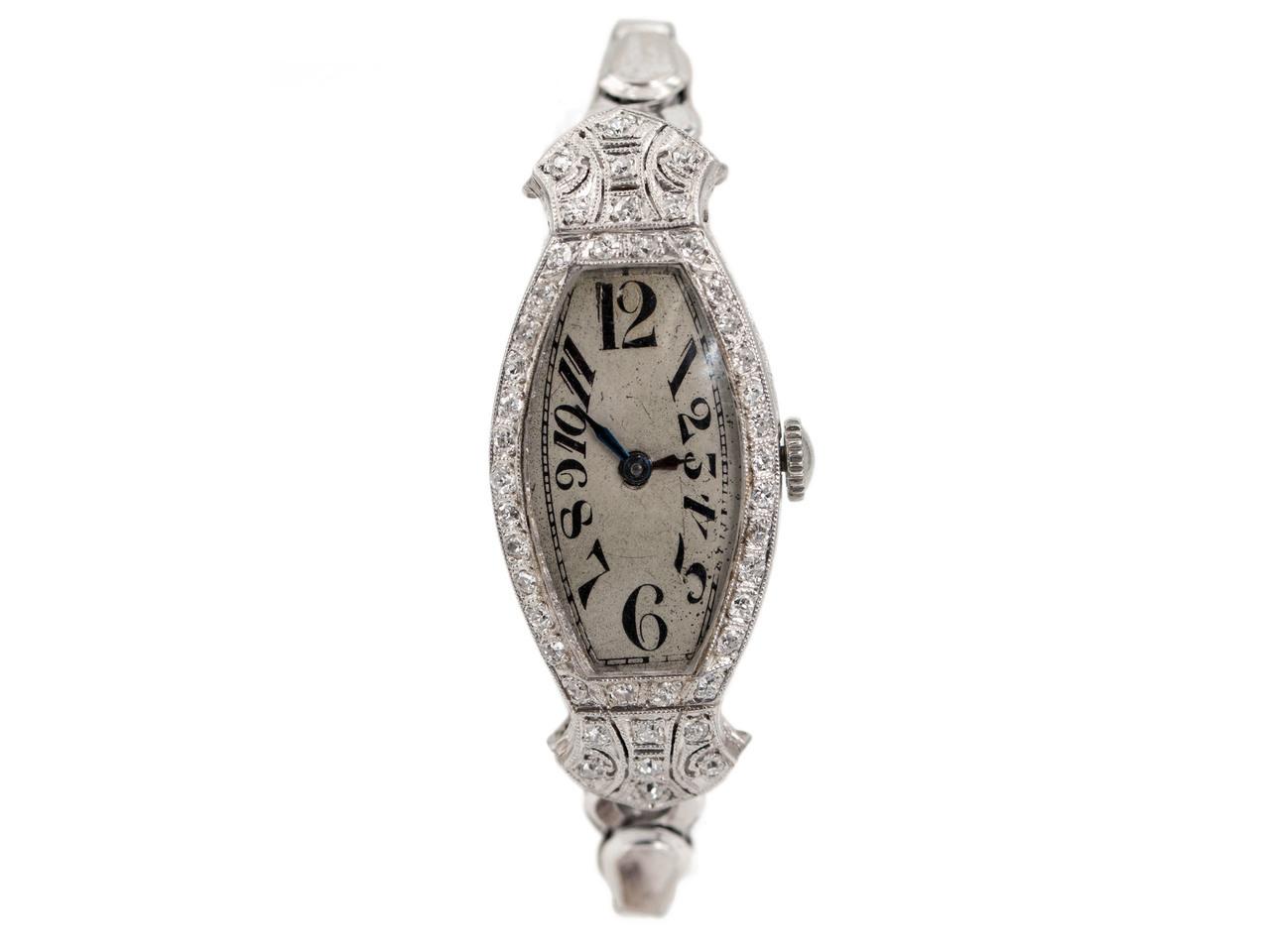Art deco platinum diamond watch by bulova  1  90961