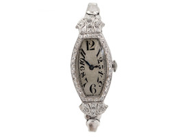 Art Deco Platinum & Diamond Watch by Bulova  - $1,500.00