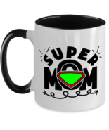 Mother's Day Gift- Super Mom - Two Tone 11 oz Coffee Mug -Funny Sweet Sp... - £16.39 GBP