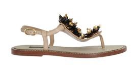 Dolce & Gabbana Beige Leather Crystal Floral Sandal 326337 - $416.07