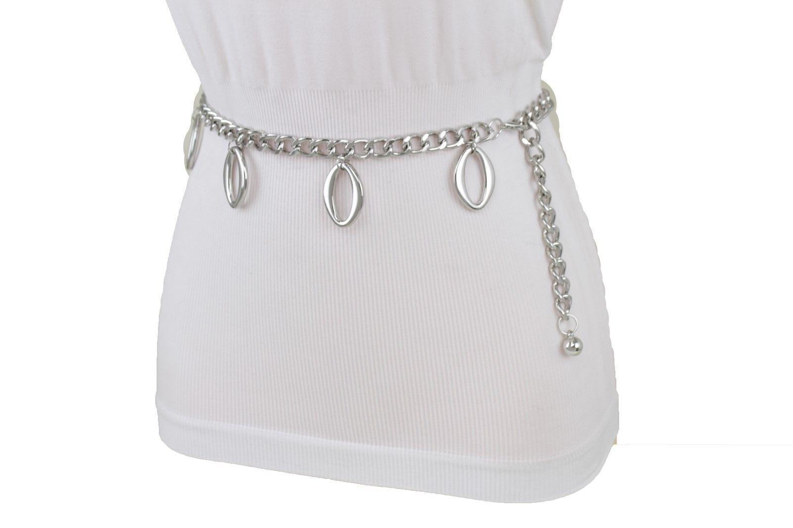 Sexy Women Narrow Belt Silver Metal Chain Oval Shape Charms Dangle XS S M L XL
