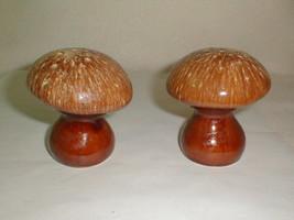 Hull pottery mushroom salt pepper set w corks brown drip vintage - $32.00