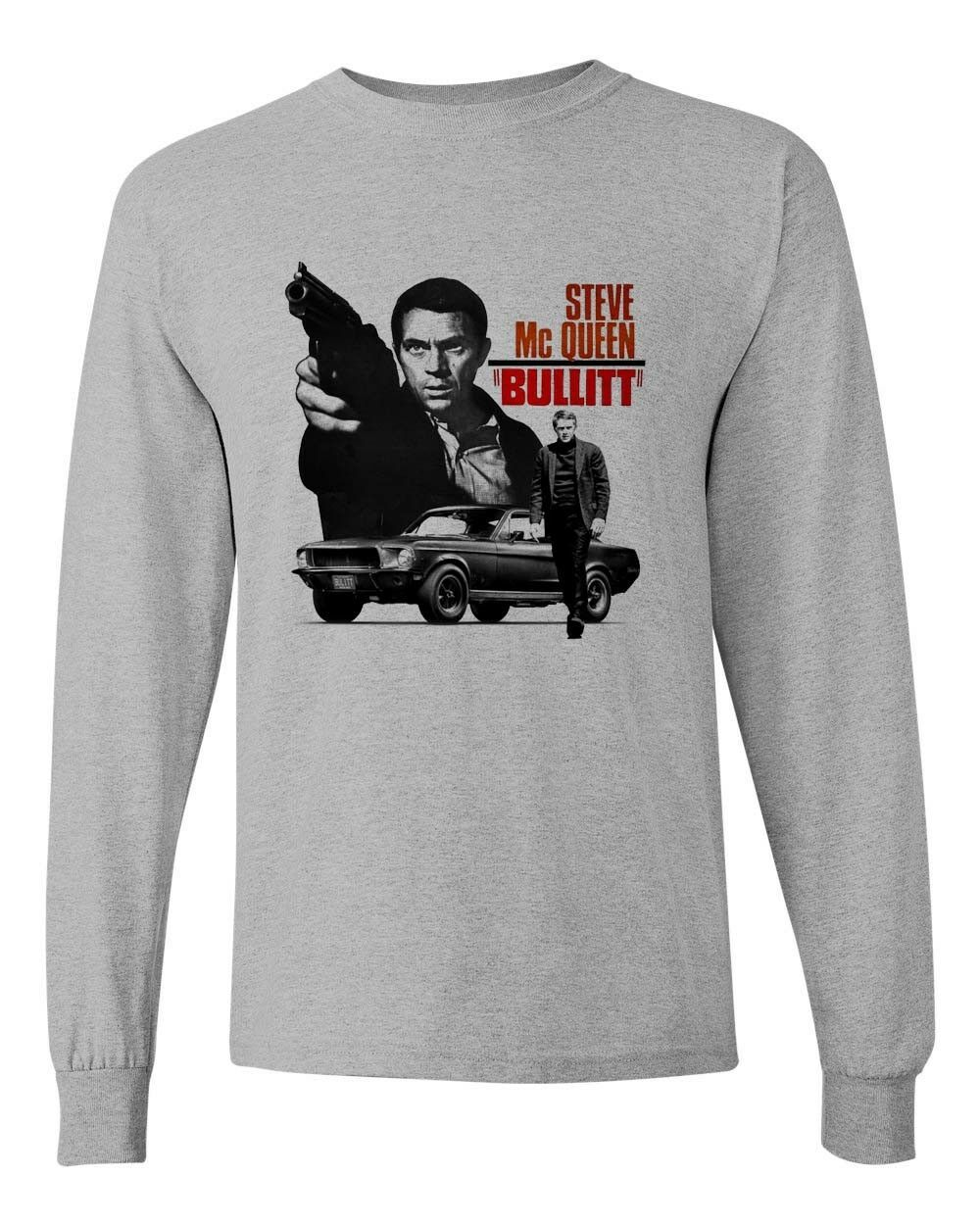 Bullitt Steve McQueen Long Sleeve T-shirt 1960s car movie ford Mustang gray