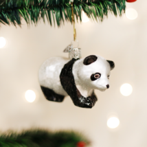 Old World Christmas Panda Bear Cub Zoo Animal Glass Christmas Ornament 12357 - $11.88