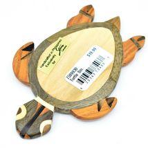 Northwoods Wooden Marquetry Sea Turtle Design Tile Figurine Sculpture Decor image 3