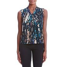 Calvin Klein Center Knot V-Neck Top, Blue, S 4315-00 - $24.49