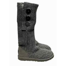 UGG Australia Classic Cardi Shearling Knit Boots Size 8 Gray  - $59.80