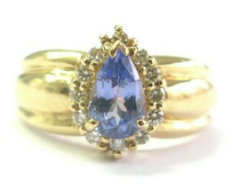 Pera Forma Tanzanite e Anello Diamante 14Kt Oro Giallo 1.38Ct Aaa-Vs - $1,039.45