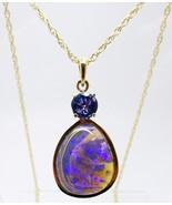 14K Large 7.70ct Genuine Natural Black Opal Pendant with Tanzanite (#J3350) - $2,150.00