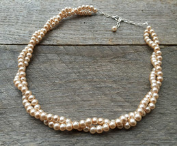 Pink Champagne Pearl Necklace Bridal Necklace Twisted Clusters on Silver... - $27.00