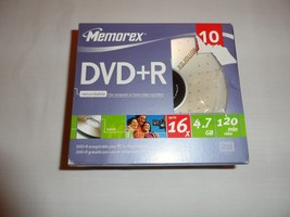 Memorex DVD+R 10 Pack 16X 120Min 4.7GB 10 Discs With Slim Cases New Media - $4.99