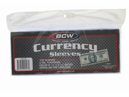 BCW Currency Sleeves - Regular Bill, 100 pack - $5.99