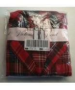 New Victoria's Secret Cotton Flannel Pajama Set Tartan Plaid Red/Black S... - $58.91