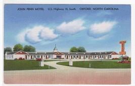 John Penn Motel US 15 Oxford North Carolina postcard - $6.44