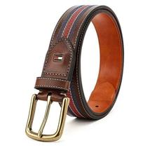 Tommy Hilfiger Men's 35MM Center Stripe Stitch Leather Belt Brown 11TL02X057 image 4