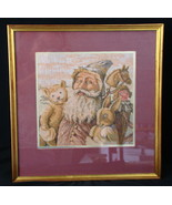 Old Time Santa Claus Blue Robe Embroidery Tapestry Fabric Matted And Fra... - $37.39