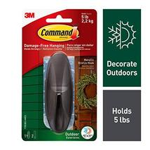 Command Outdoor Hook, Decorate Damage-Free, Water-Resistant Adhesive, Large 1708 image 5