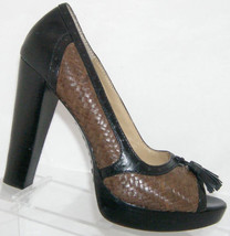 Michael Michael Kors brown black weave leather tassel platform heels 7.5M - $37.08