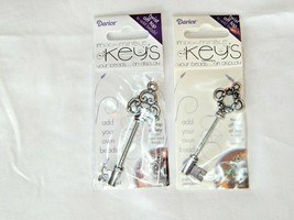 ANTIQUE SILVER TWIST TOP KEY PENDANT DIY ADD YOUR METAL LINED BEADS - $3.99