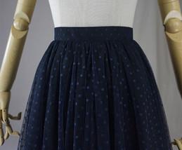 Navy Polka Dot Tulle Skirt Navy Long Tulle Skirt Wedding Guest Outfit image 8