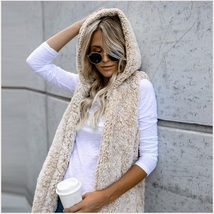 Soft Fleece Sherpa Sleeveless Hoodie Vest Front Zip Up In Four Colors image 2