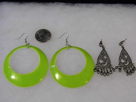 Two Pair Earrings Pierced Lime Hoop Silver Tone Dangling Costume Fashion... - $9.66