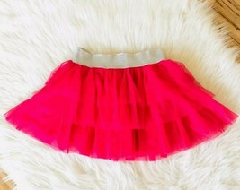 Pink Skater Skirt Tiered Silver Sparkly Elastic Waistband Girls 10 12 L ... - $7.91