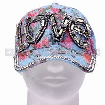 "Glitter Rhinestone ""Love"" Thin Blue Women Baseball Cap Hat For Hot Weathers - $11.89 CAD"