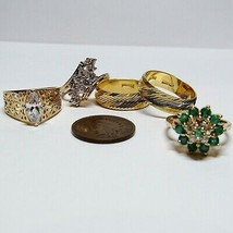 Vintage 5 Piece Lot 18 KT Yellow Gold on Sterling Silver Band Rings 16.9... - $36.61