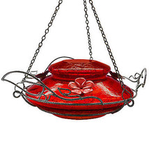 Hummingbird Feeder With Perching Ring, Red Crackle Glass - $37.61