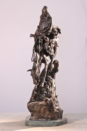 """13.5""""H """"Mountain Man"""" Solid Bronze Collectible Sculpture Statue by F. Remington"""