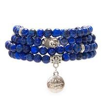 Bivei 108 Mala Beads Bracelet - Genuine Gemstone Mala Prayer Beads Lotus Charm M