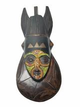 African  Beaded Ghana  Ashanti Wood Mask Wall Hanging Decor Hand Carved ... - $29.99