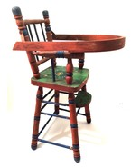 French Wooden Doll High Chair Vintage 19 inches Tall Painted Rust Green - $84.14