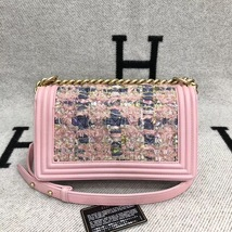 100% AUTH CHANEL Pink Tweed Leather Limited Edition Medium Boy Flap Bag GHW image 3