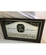 """Vintage Bar Mirror Sign Lowenbrau Beer Draft Wood Frame 21"""" X 33"""" Huge M... - $72.55"""