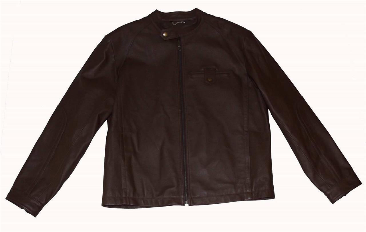 PERRY ELLIS Brown Leather MOTO Snap Collar Jacket VERY NICE NWOT Mns Med-Lrg - $159.99