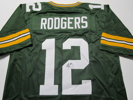 AARON RODGERS / AUTOGRAPHED GREEN BAY PACKERS CUSTOM FOOTBALL JERSEY / COA image 1